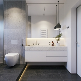 Inšpirácie pre vašu bielo-čiernu kúpeľňu
