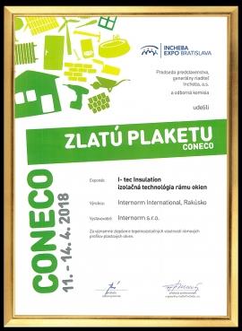 Internorm opäť ocenený  ZLATOU PLAKETOU na výstave CONECO 2018