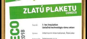 Projekty domov | Internorm opäť ocenený  ZLATOU PLAKETOU na výstave CONECO 2018