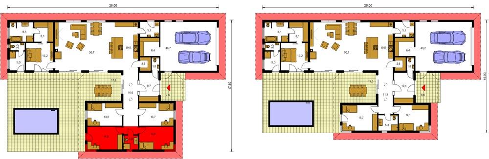 Alternatíva rozšírenia domu Bungalow 205 o dve izby
