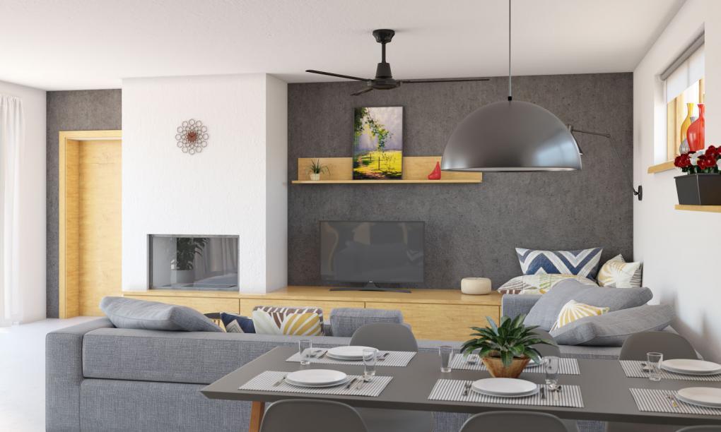 Interiér rodinného domu Bungalow 205 - obývacie izba
