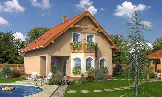 Projekt domu klasický, murovaný so sedlovou strechou a obytným podkrovím, 4 - izbový s izbou na prízemí a možnosťou pristavať garáž