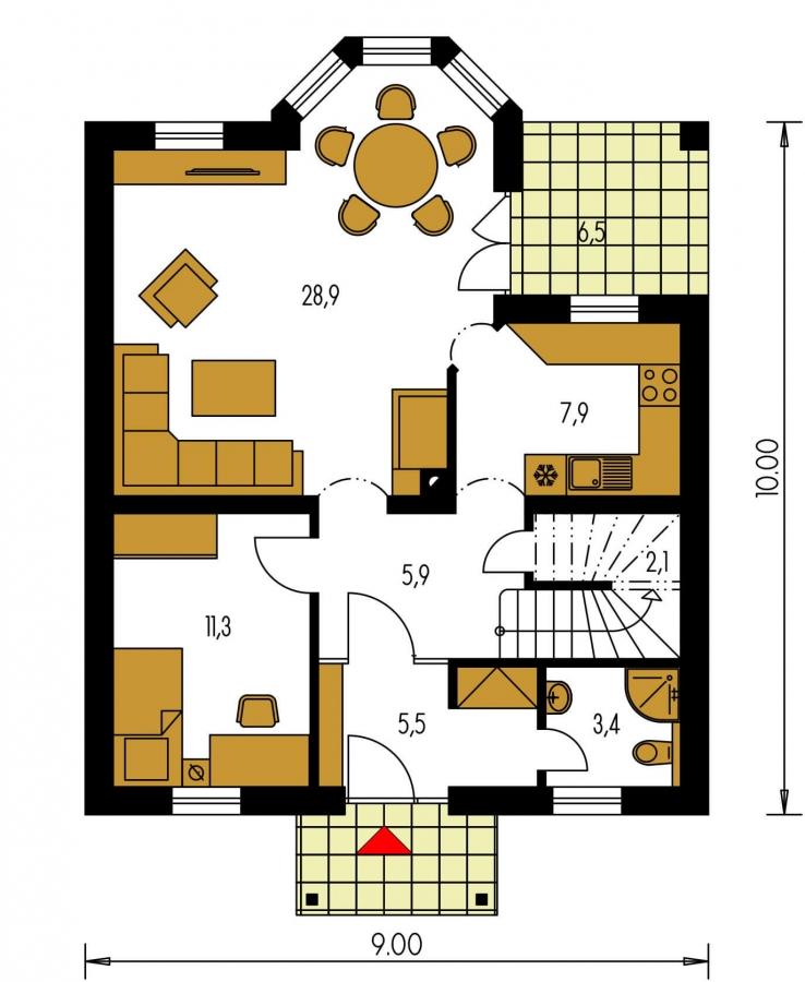 Pôdorys Prízemia - Projekt domu so sedlovou strechou a obytným podkrovím. Ide o 4-izbový RD s izbou na prízemí s možnosťou pristavať garáž.