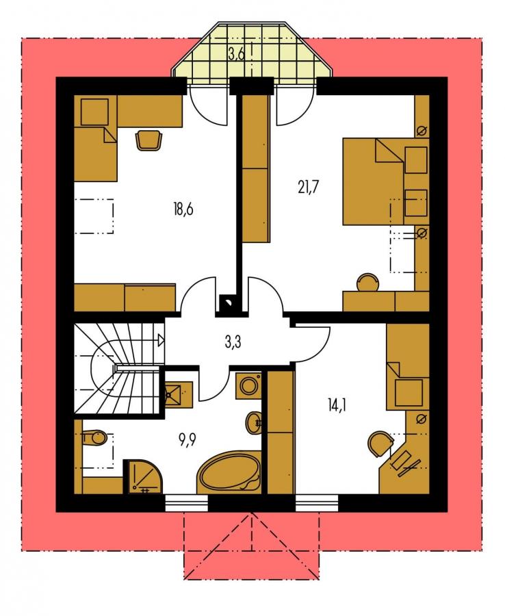 Pôdorys Poschodia - Projekt domu so sedlovou strechou a obytným podkrovím. Ide o 4-izbový RD s izbou na prízemí s možnosťou pristavať garáž.