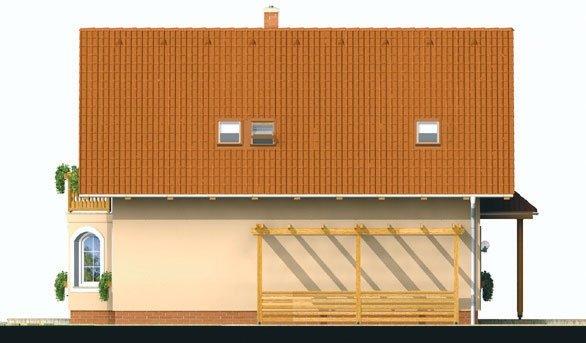 Pohľad 4. - Projekt domu klasický, murovaný so sedlovou strechou a obytným podkrovím, 4 - izbový s izbou na prízemí a možnosťou pristavať garáž