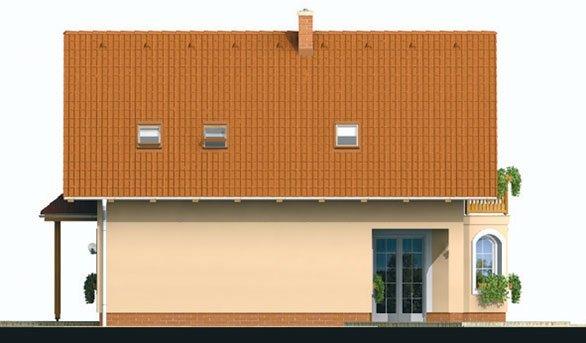 Pohľad 2. - Projekt domu klasický, murovaný so sedlovou strechou a obytným podkrovím, 4 - izbový s izbou na prízemí a možnosťou pristavať garáž