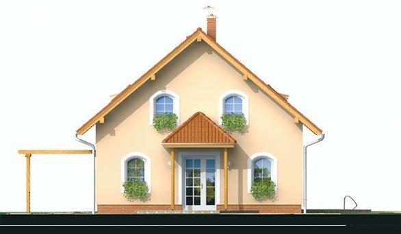 Pohľad 1. - Projekt domu klasický, murovaný so sedlovou strechou a obytným podkrovím, 4 - izbový s izbou na prízemí a možnosťou pristavať garáž