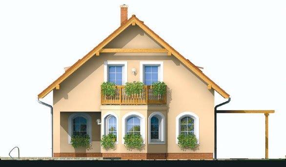 Pohľad 3. - Projekt domu klasický, murovaný so sedlovou strechou a obytným podkrovím, 4 - izbový s izbou na prízemí a možnosťou pristavať garáž