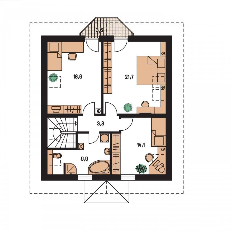 Pôdorys Poschodia - Projekt domu klasický, murovaný so sedlovou strechou a obytným podkrovím, 4 - izbový s izbou na prízemí a možnosťou pristavať garáž