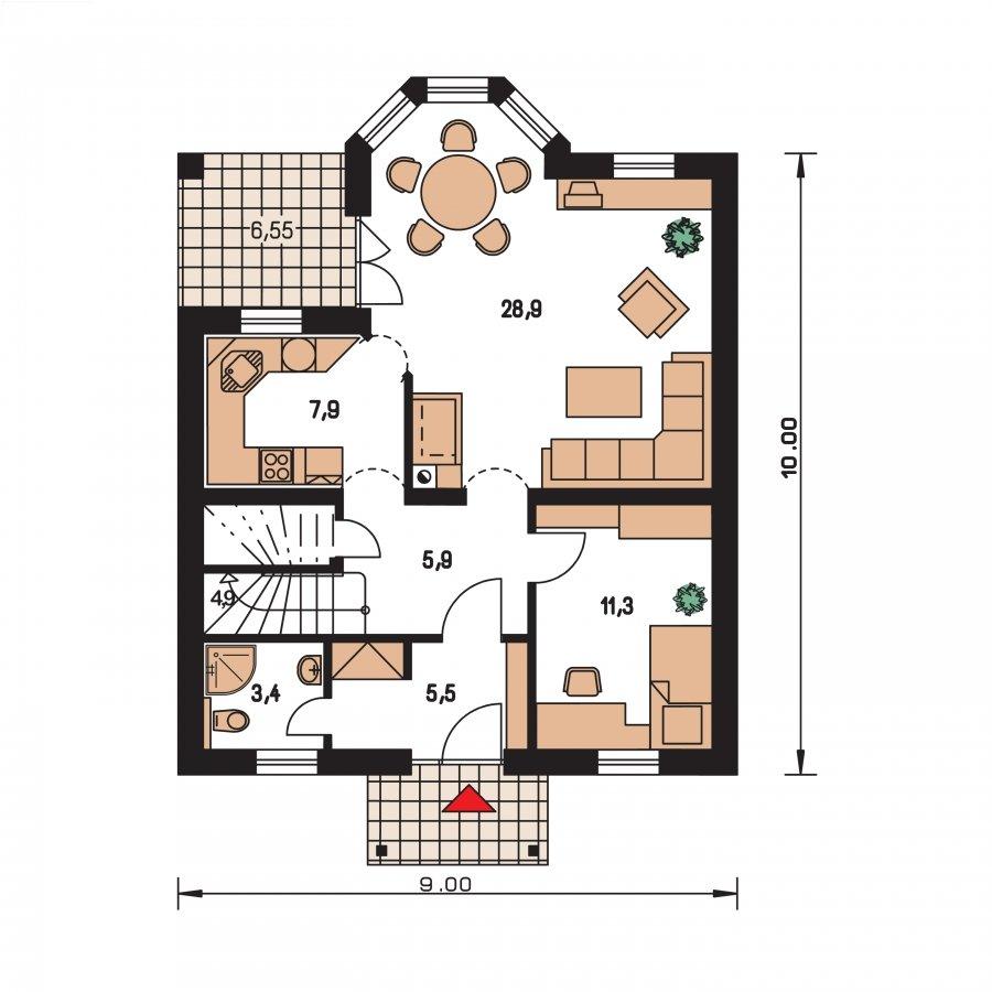 Pôdorys Prízemia - Projekt domu klasický, murovaný so sedlovou strechou a obytným podkrovím, 4 - izbový s izbou na prízemí a možnosťou pristavať garáž