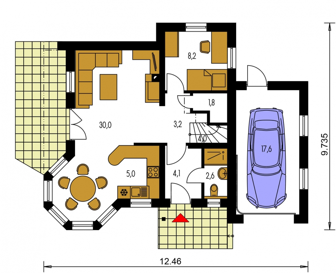 Pôdorys Prízemia - Projekt domu s pristavanou garážou a obytným podkrovím, je 4 - izbový s izbou na prízemi. Bez garáže môže slúžiť ako chata.