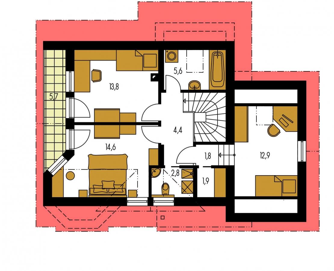 Pôdorys Poschodia - Projekt domu s pristavanou garážou a obytným podkrovím, je 4 - izbový s izbou na prízemi. Bez garáže môže slúžiť ako chata.