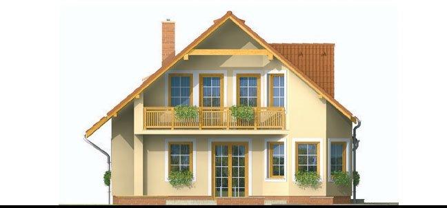 Pohľad 4. - Projekt domu s pristavanou garážou a obytným podkrovím, je 4 - izbový s izbou na prízemi. Bez garáže môže slúžiť ako chata.
