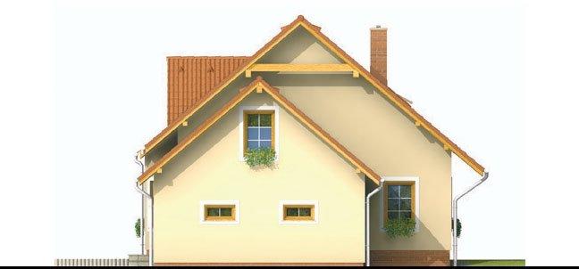 Pohľad 2. - Projekt domu s pristavanou garážou a obytným podkrovím, je 4 - izbový s izbou na prízemi. Bez garáže môže slúžiť ako chata.