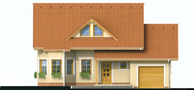 Pohľad 1. - Projekt domu s pristavanou garážou a obytným podkrovím, je 4 - izbový s izbou na prízemi. Bez garáže môže slúžiť ako chata.