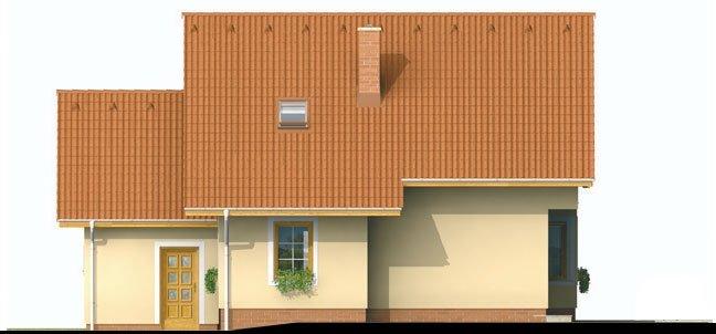 Pohľad 3. - Projekt domu s pristavanou garážou a obytným podkrovím, je 4 - izbový s izbou na prízemi. Bez garáže môže slúžiť ako chata.