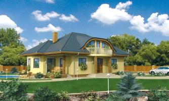 Exkluzívny projekt rodinného domu. Dominatou je vikier s balkónom. Na prízemí sú dve spálne so sociálnym zariadením.