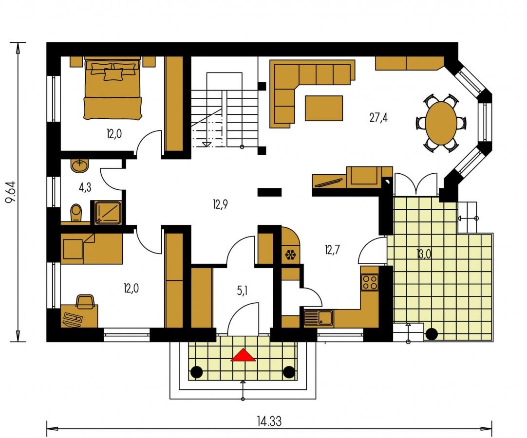 Pôdorys Prízemia - Exkluzívny projekt rodinného domu. Dominatou je vikier s balkónom. Na prízemí sú dve spálne so sociálnym zariadením. Možnosť doprojektovať suterén.