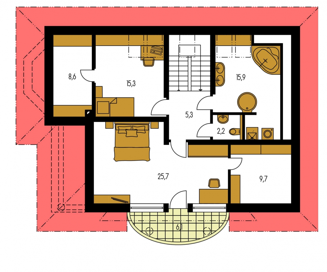 Pôdorys Poschodia - Exkluzívny projekt rodinného domu. Dominatou je vikier s balkónom. Na prízemí sú dve spálne so sociálnym zariadením. Možnosť doprojektovať suterén.