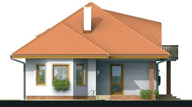 Pohľad 4. - Exkluzívny projekt rodinného domu. Dominatou je vikier s balkónom. Na prízemí sú dve spálne so sociálnym zariadením. Možnosť doprojektovať suterén.