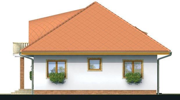 Pohľad 2. - Exkluzívny projekt rodinného domu. Dominatou je vikier s balkónom. Na prízemí sú dve spálne so sociálnym zariadením. Možnosť doprojektovať suterén.