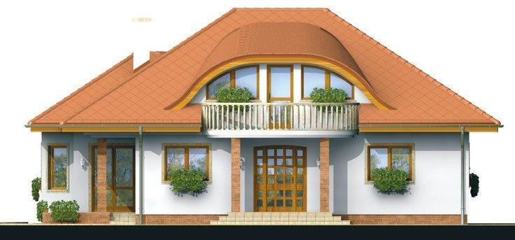 Pohľad 1. - Exkluzívny projekt rodinného domu. Dominatou je vikier s balkónom. Na prízemí sú dve spálne so sociálnym zariadením. Možnosť doprojektovať suterén.