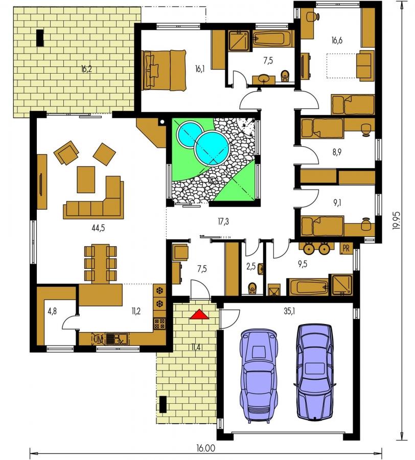 Pôdorys Prízemia - Átriový murovaný rodinný dom s dvojgarážou, plochou rovnou strechou a veľkou krytou terasou, átrium opticky prepojuje dennú a nočnú časť.