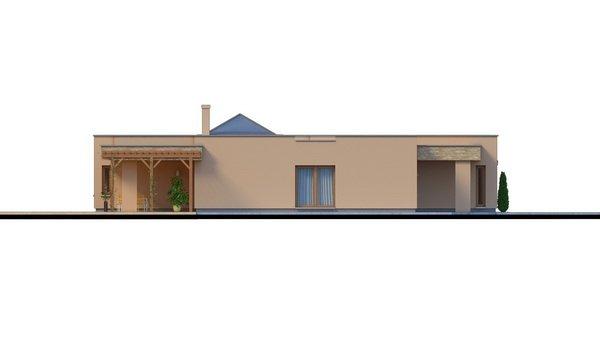 Pohľad 1. - Átriový murovaný rodinný dom s dvojgarážou, plochou rovnou strechou a veľkou krytou terasou, átrium opticky prepojuje dennú a nočnú časť.