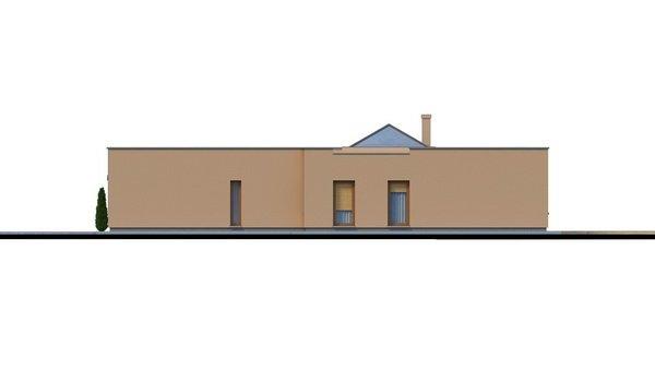 Pohľad 2. - Átriový murovaný rodinný dom s dvojgarážou, plochou rovnou strechou a veľkou krytou terasou, átrium opticky prepojuje dennú a nočnú časť.