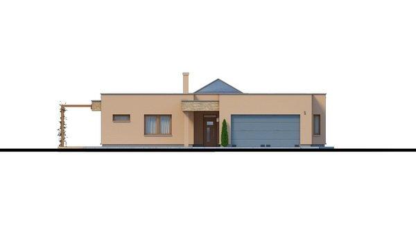Pohľad 3. - Átriový murovaný rodinný dom s dvojgarážou, plochou rovnou strechou a veľkou krytou terasou, átrium opticky prepojuje dennú a nočnú časť.