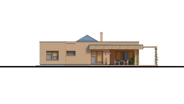 Pohľad 4. - Átriový murovaný rodinný dom s dvojgarážou, plochou rovnou strechou a veľkou krytou terasou, átrium opticky prepojuje dennú a nočnú časť.