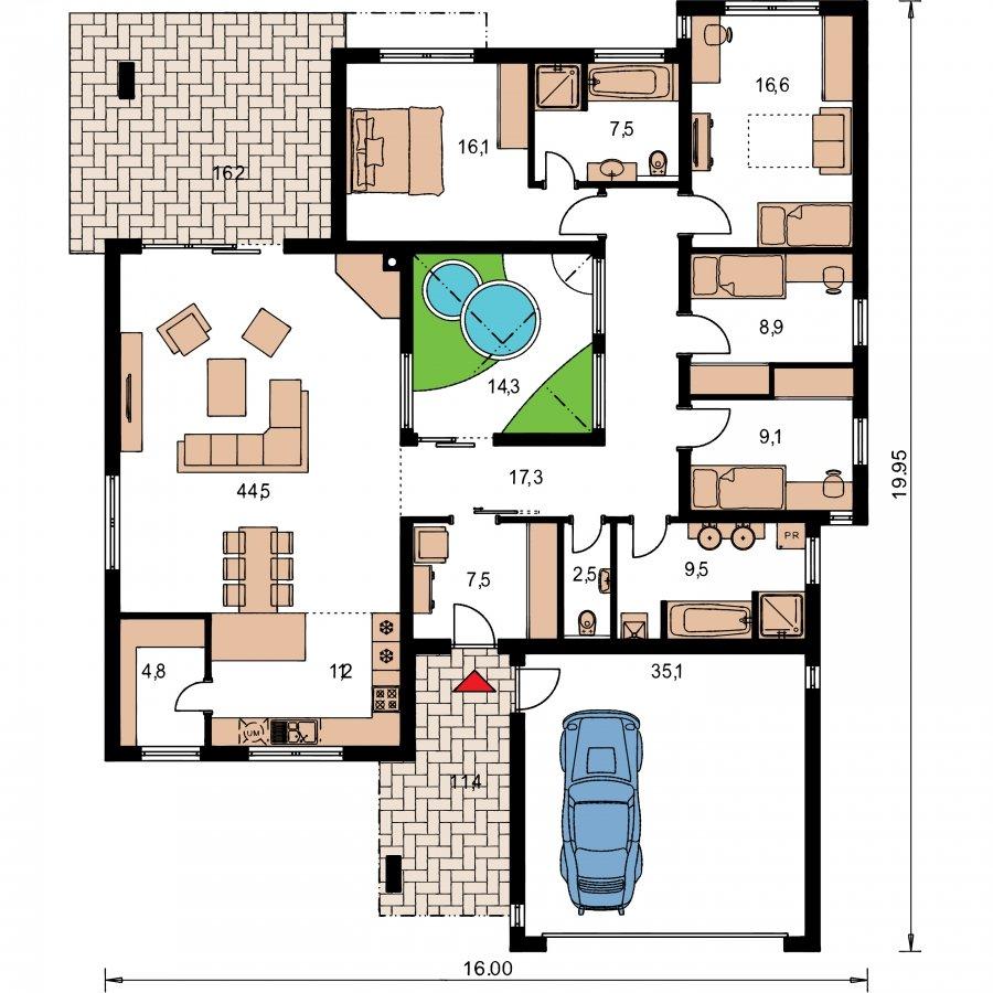 Pôdorys Prízemia - Átriový murovaný rodinný dom s dvojgarážou, plochou strechou a veľkou krytou terasou, átrium opticky prepojuje dennú a nočnú časť