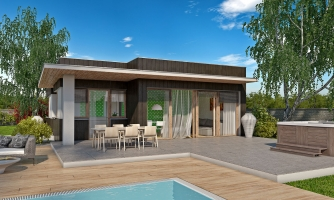 Moderný malý projekt rodinného domu s plochou strechou na úzky pozemok. Na presvetlenie chodby slúži svetlík Velux.