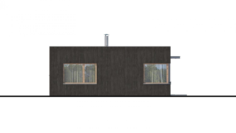 Pohľad 4. - Moderný malý projekt rodinného  domu s plochou strechou na úzky pozemok. Na presvetlenie chodby slúži svetlík Velux.