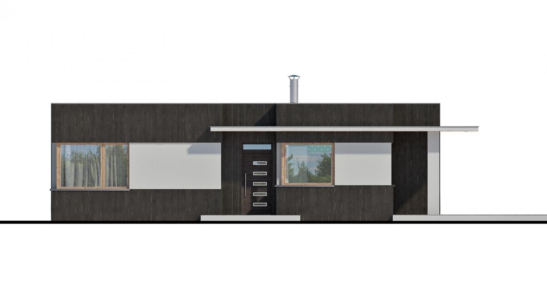 Pohľad 1. - Moderný malý projekt rodinného  domu s plochou strechou na úzky pozemok. Na presvetlenie chodby slúži svetlík Velux.