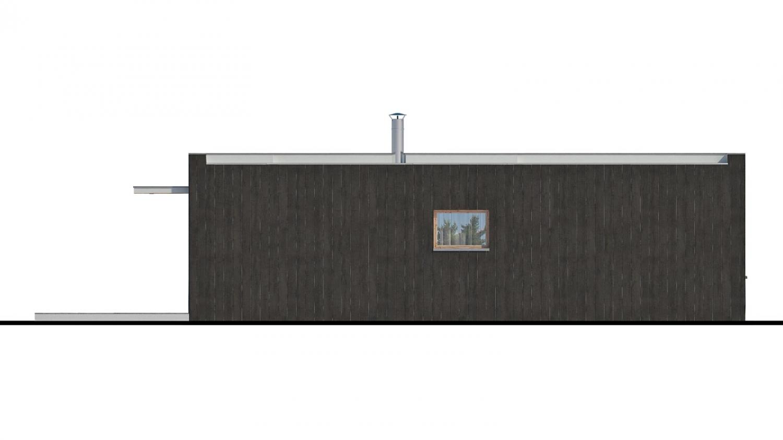 Pohľad 3. - Moderný malý projekt rodinného  domu s plochou strechou na úzky pozemok. Na presvetlenie chodby slúži svetlík Velux.