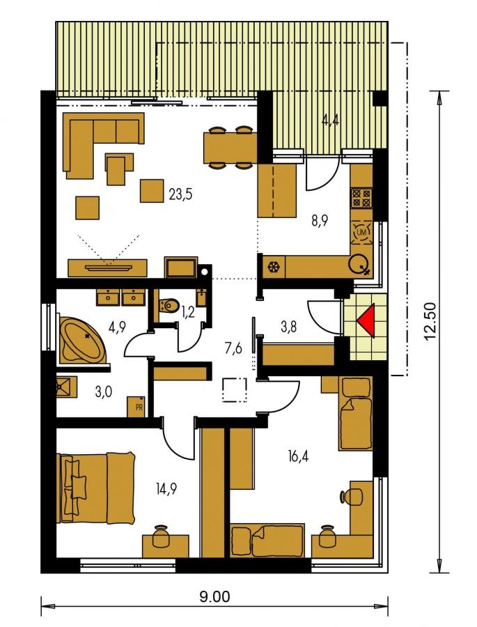 Pôdorys Prízemia - Moderný malý projekt rodinného  domu s plochou strechou na úzky pozemok. Na presvetlenie chodby slúži svetlík Velux.