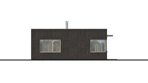 Pohľad 1. - Moderný malý projekt rodinného domu s plochou strechou na úzky pozemok, na presvetlenie chodby slúži svetlík Velux