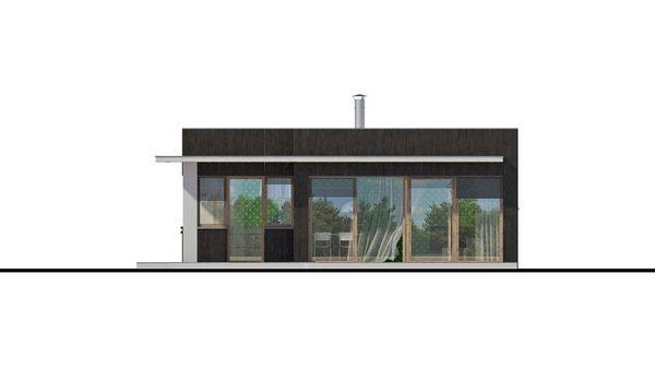 Pohľad 2. - Moderný malý projekt rodinného domu s plochou strechou na úzky pozemok, na presvetlenie chodby slúži svetlík Velux