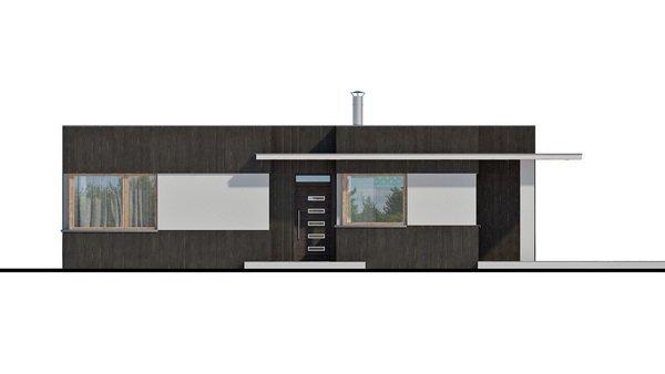 Pohľad 3. - Moderný malý projekt rodinného domu s plochou strechou na úzky pozemok, na presvetlenie chodby slúži svetlík Velux