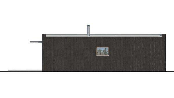 Pohľad 4. - Moderný malý projekt rodinného domu s plochou strechou na úzky pozemok, na presvetlenie chodby slúži svetlík Velux