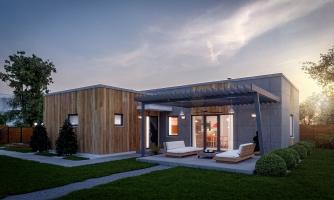 Dom v tvare L s plochou strechou, 4-izbový, murovaný. Oddelená denná a nočná časť. Kuchyňa s obývačkou tvoria veľkopriestor.
