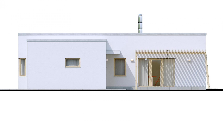 Pohľad 4. - 4-izbový dom v tvare L s plochou strechou. Kuchyňa s obývačkou tvoria veľkopriestor.