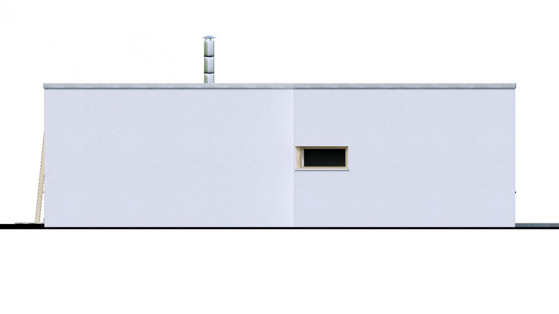 Pohľad 2. - 4-izbový dom v tvare L s plochou strechou. Kuchyňa s obývačkou tvoria veľkopriestor.