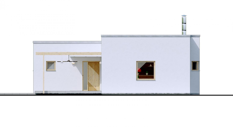 Pohľad 1. - 4-izbový dom v tvare L s plochou strechou. Kuchyňa s obývačkou tvoria veľkopriestor.
