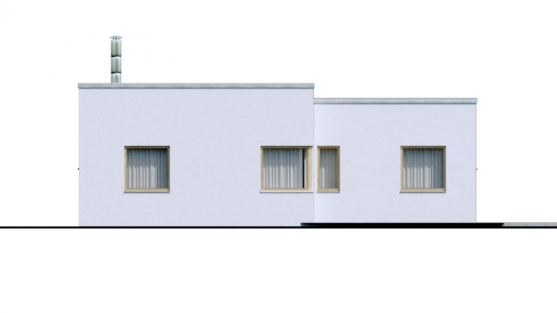 Pohľad 3. - 4-izbový dom v tvare L s plochou strechou. Kuchyňa s obývačkou tvoria veľkopriestor.
