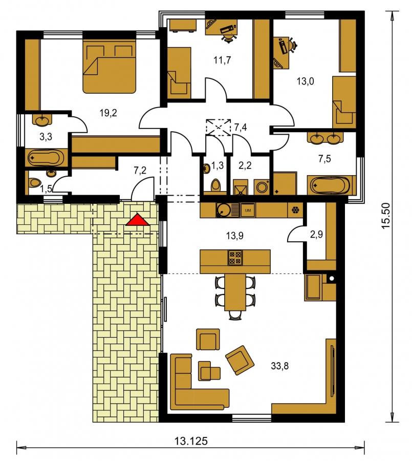Pôdorys Prízemia - 4-izbový dom v tvare L s plochou strechou. Kuchyňa s obývačkou tvoria veľkopriestor.