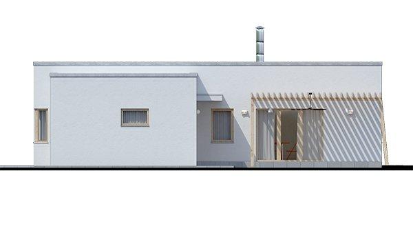 Pohľad 1. - Dom v tvare L s plochou strechou, 4-izbový, murovaný. Oddelená denná a nočná časť. Kuchyňa s obývačkou tvoria veľkopriestor.