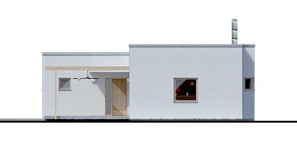 Pohľad 3. - Dom v tvare L s plochou strechou, 4-izbový, murovaný. Oddelená denná a nočná časť. Kuchyňa s obývačkou tvoria veľkopriestor.