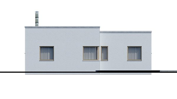 Pohľad 4. - Dom v tvare L s plochou strechou, 4-izbový, murovaný. Oddelená denná a nočná časť. Kuchyňa s obývačkou tvoria veľkopriestor.